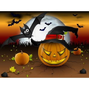 Pumpkin Bat Theme Background Halloween Party Backdrop