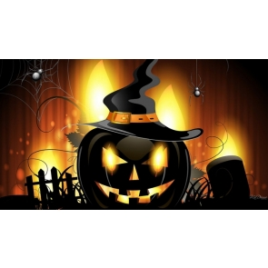 Black Pumpkin Flame Halloween Background Party Backdrop Decorations