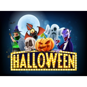 Various Cartoon People Pumpkin Banner Child Halloween Party Backdrop