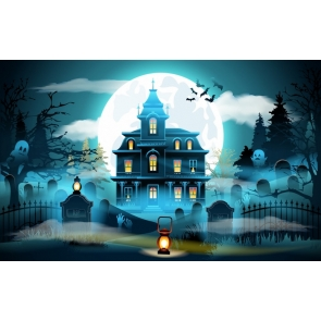 Anime Fairy Tale Style Castle Moon Theme Halloween Backdrop